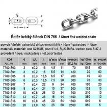 Řetěz krátký článek DIN 766, pr. 8 mm