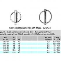 Kolík pojistný (Zákolník) DIN11023 9 x 45 mm