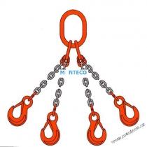 Vázací řetěz 4hák tř.10,pr.13mm,L=1m