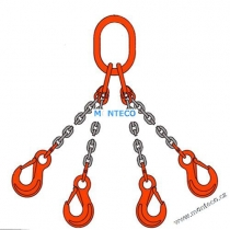Vázací řetěz 4hák tř.10,pr. 6mm,L=5m