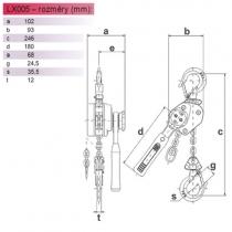Pákový řetězový kladkostroj KITO LX005