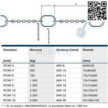 Čerpadlový řetěz PCWI 16 5000kg